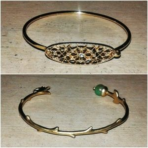 Set of Two Bangle Bracelets Gold Finish
